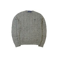 ●POLO RALPH LAUREN CABLE KNIT COTTON SWEATER (CHARCOAL GREY×NAVY)ポロラルフローレン/クルーネックセーター/チャコールグレー×紺