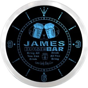 LEDネオンクロック 壁掛け時計 ncp1071-b JAMES Home Bar Beer Pub LED Neon Sign Wall Clock