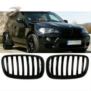 BMW グリル * Shiny Gloss Black Front Bumper Kidney Grille For BMW E70 X5 E71 X6 07-13 *シャイニーグロスブラックフロント...