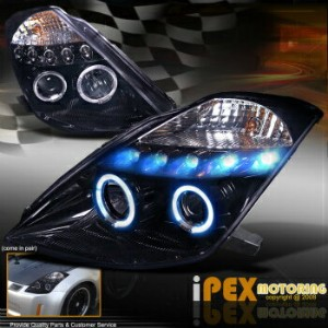 日産 フェアレディー Z ヘッドライト For 2003-2005 Nissan 350Z Z33 Halo Projector LED *Shiny Smoked-Black* Headlights...