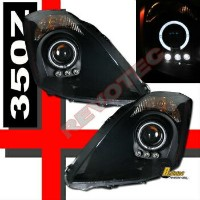 日産 フェアレディー Z ヘッドライト Black Halo Angel Eye LED Projector Headlights For 03-05 FairLady 350Z Z33...