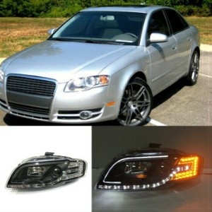 アウディ ヘッドライト For Audi A4 B7 2005-2008 LED High+Low Beam Assembly Headlight Bi Xenon Projector アウディA4...