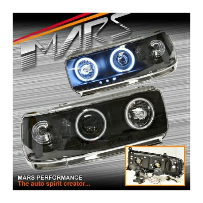 トヨタ ランドクルーザー ヘッドライト CCFL Angel Eyes Projector Head Lights Toyota LANDCRUISER 80 Series 90-97 FJ80...
