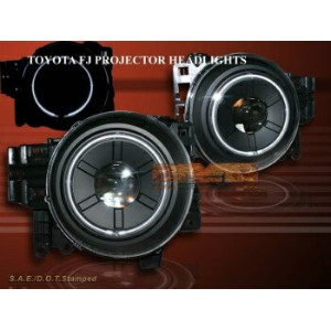 トヨタ FJクルーザー ヘッドライト 2007-2014 Toyota FJ Cruiser Projector Headlights Halo RIM CCFL Black Head Lamps...