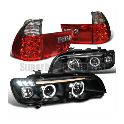 BMW ヘッドライト 2001-2003 BMW E53 X5 Halo LED Projector Headlights Black+Tail Lights Red/ Smoke 2001...