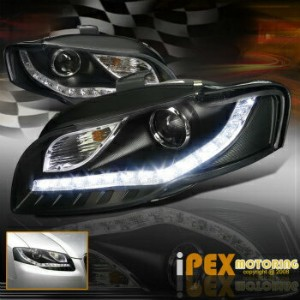 アウディ ヘッドライト BRIGHTEST [LED DRL Bar] 2006-2008 Audi A4 B7 Facelift Projector Black Headlights...