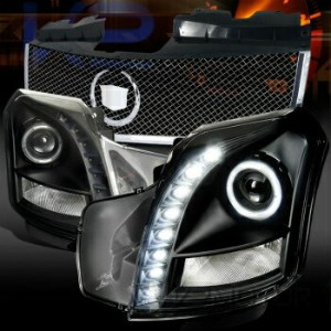 クライスラー キャデラック ヘッドライト 03-07 Cadillac CTS Black SMD LED Projector Headlights+Chrome Mesh Hood Grille...