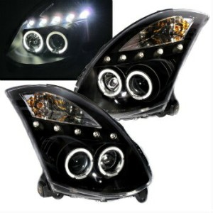 日産 スカイライン ヘッドライト Skyline V35 2003-2007 Coupe LED Angel-Eye Projector HEADLIGHT Black for NISSAN...