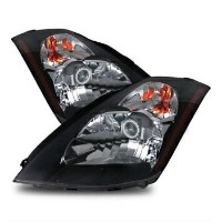 日産 フェアレディー Z ヘッドライト Fit 03-05 Nissan 350Z Z33 Fairlady Projector Headlights Black Left+Right フィット03...