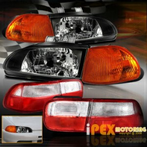 ホンダ シビック テールライト 92-95 Honda Civic 2Dr Coupe JDM Black Headlight+Amber Corner+Tail Light EJ Combo 92...