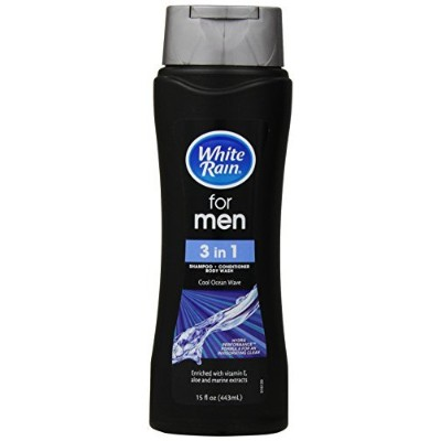 White Rain Mens 3-in-1 Shampoo + Conditioner + Body Wash, Ocean Wave, 15 oz [並行輸入品]