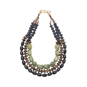 【Theory】Kong qi Color Stone Necklace 天然石やモチーフをストリングで繋ぎ合わせた三連ネックレス。 その他 大人 セオリー