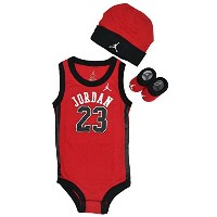 NIKE(ナイキ)【IBSP524】ジョーダン 3PIECE INFANT SET ロンパース キャップ シューズ 3点セットRED×BLK 1SIZE