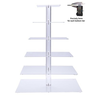 BonNoces Premium Six 6-Tier Square Stack Party Cupcake and Dessert Tower-Crystal Clear Acrylic...