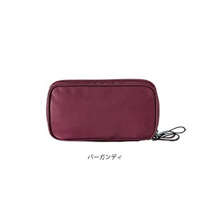 ithinkso DOUBLE ZIP MAKE UP POUCH ブラシが収納できるポーチ (バーガンディ)