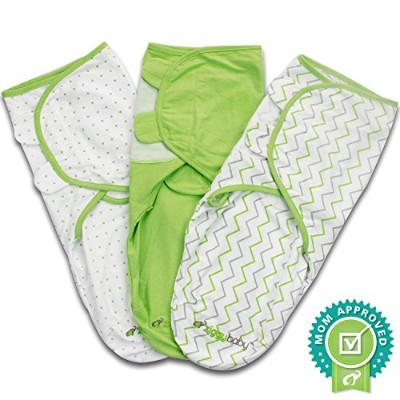 Ziggy Baby Swaddle Blanket Wrap Set, Grey/Green/White, by Ziggy Baby