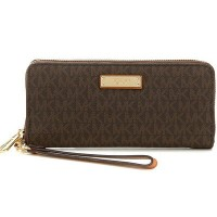 マイケルマイケルコース 長財布 Michael Michael Kors 32S7GTTE9B Jet Set Travel Logo Continental Wristlet (Brown)...
