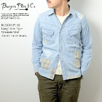 BURGUS PLUS バーガスプラス Long Horn Type Western Shirt Faded Patch Work HBP-300WS_FPT