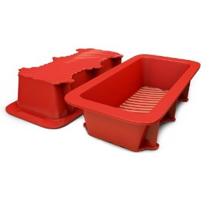 Silicone Bread and Loaf Pan Set of 2 Red, Nonstick, Commercial Grade Plus Bread Recipe Ebook by...
