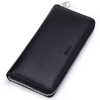 (HISCOW) HISCOW Metal Zipper Long Wallet Black with 2 Cash Compartment - Italian Calfskin