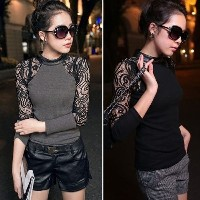 Sexy Womens Lace Crochet Sleeve Crewneck Slim Long Sleeve Tops Blouse T Shirt(Size XS-L)