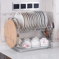 S-Shaped Dish Rack Set  2-Tier Chrome Stainless Plate Dish Cutlery Cup Rack with Tray steel drain...