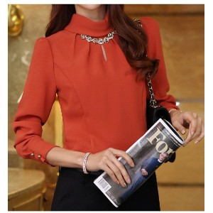 high quality Korean Loose Chiffon solid color temperament career Shirt Long sleeve shirt Womens...