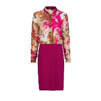 Bright Stand Collar Patchwork Long Sleeve Dress