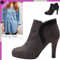 DRSH0118-1270-Round / patches / all / suede / 10cm / high heels / feel / Booties Heel / ★ Free...