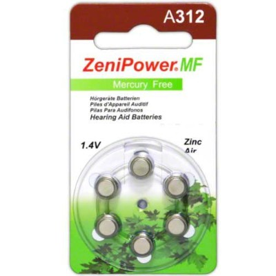 ZeniPower Hearing Aid Batteries Size 312, 50 x 6 Dial Cards = 300 Batteries by ZeniPower [並行輸入品]
