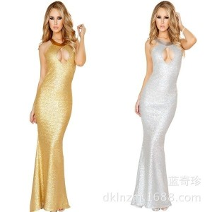 Sexy Long Dresses and white color glittering gold star dinner dress evening dress singer stage