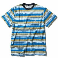 FUCT SSDD 半袖 パイル地 Tシャツ ファクト STRIPED FRENCH TERRY TEE blue×yellow(ボーダー柄)スケボー SKATE SK8 スケートボード HARD...