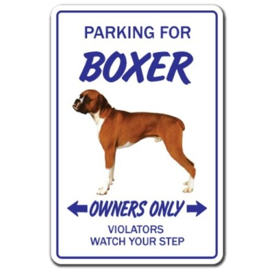 PARKING FOR BOXER OWNERS ONLY サインボード:ボクサー オーナー専用 駐車スペース 標識 看板 MADE IN U.S.A [並行輸入品]