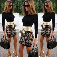 Sexy Women Long Sleeve Bodycon Bandage Evening Party Club Cocktail Mini Dress
