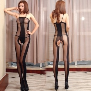 Hot Women Sexy lingerie Black Crotchless Body Stocking Bodysuit Underwear Costumes (Color: Black)