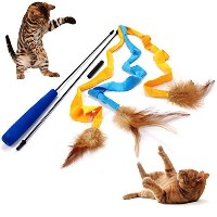Pet Fit For Life 3 Soft Strands with Feathers Teaser and Exerciser For Cat and Kitten - Cat Toy...