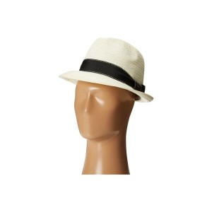 スカラ メンズ 帽子 ハット【5 BU Toyo Fedora with Striped Ribbon Band】Ivory