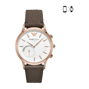 メンズ EMPORIO ARMANI CONNECTED Rose Gold-Tone and Brown Leather Strap Hybrid Smartwatch スマートウォッチ ホワイト