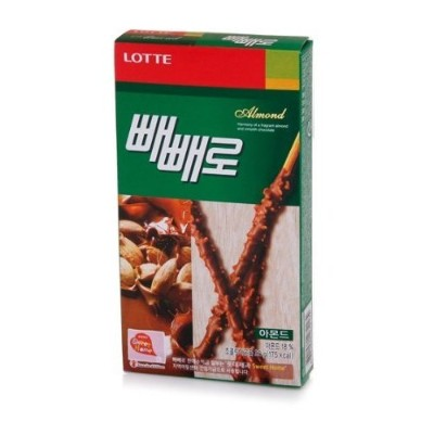 Lotte Pepero Almond Chocolate Covered Cookie Stick (Pack of 4)