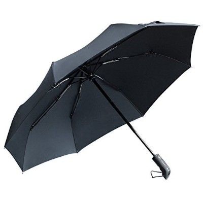 TOTU Windproof Umbrellas Auto Open Close Folding Golf Strong Durable Compact Travel Umbrella Reinforced Ribs 60 MPH Windproof Canopy and Slip-Proof Handle, Portable Lightweight Easy Carrying Black