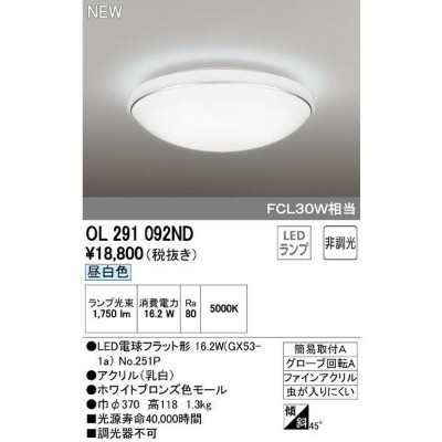 ODELICオーデリックLED小型シーリングライトOL291092ND
