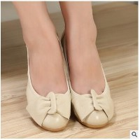 2017 spring and summer leather leather shoes with womens Korean version of bowknot flowers