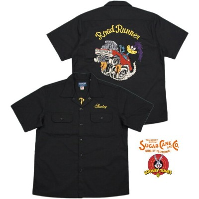 "SUGAR CANE/シュガーケーン MADE IN U.S.A. ROAD RUNNER S/S WORK SHIRT""ROAD RUNNER""ロードランナー背中刺繍入り、半袖ワークシャツ..."
