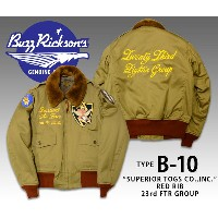 【BUZZ RICKSON'S】BR13616/フライトジャケットB-10/RED RIB VERSION『23rd Fighter Group 14th Air Force』★REAL DEAL