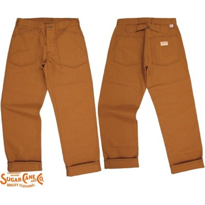 SUGAR CANE/シュガーケーン Made in U.S.A. COTTON CANVAS WORK PANTSコットンキャンバス・ワークパンツ/コットンダック・ワークパンツ138 BROWN...
