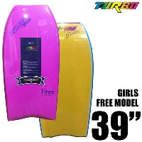 ボディボード TURBO GIRLS FREE MODEL 39インチ PINK DECK YELLOW BOTTOM/ターボ BODY BOARD
