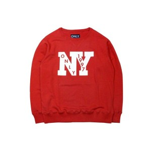 ONLY NY OUTFIELD FRENCH TERRY CREW SWEAT (RED)オンリーニューヨーク/クルーネックスウェット/赤