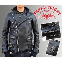 【SKULL FLIGHT/スカルフライト】レザージャケット/FR-J:COW HIDE DOUBLE RIDERS JACKET★REAL DEAL