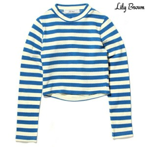 Lily Brown BORDER CUT PULL(リリー ブラウン ボーダー カット プル)BLUE14FW-L