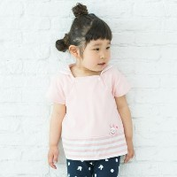 【3can4on(Kids) (サンカンシオン)】バニーモチーフプルオーバーキッズ トップス|カットソー・Tシャツ ピンク系